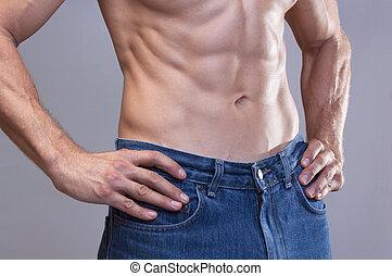 Lean male abs