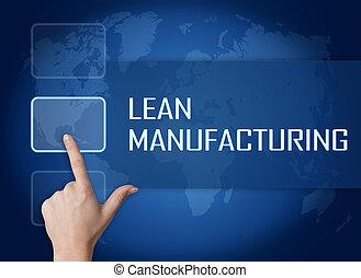 Lean Manufacturing concept with interface and world map on...