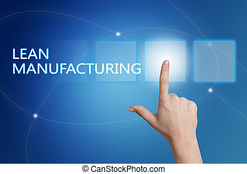 Lean Manufacturing - hand pressing button on interface with...