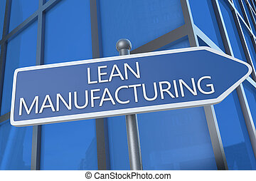 Lean Manufacturing - illustration with street sign in front...