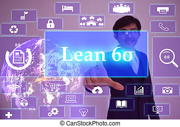 lean six sigma   concept  presented by  businessman touching on  virtual  screen ,image element furnished by NASA