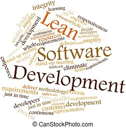 Lean Software Development - Abstract word cloud for Lean...
