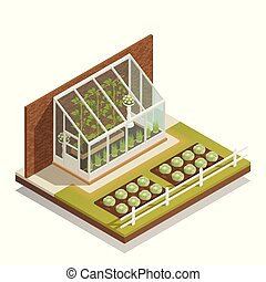 Lean-To Greenhouse Isometric Composition - Traditional lean-...