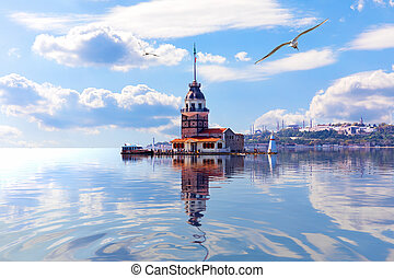Leander's Tower in the Marmara sea, the Bosporus. Istanbul.