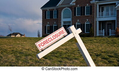 Leaning foreclosure sign