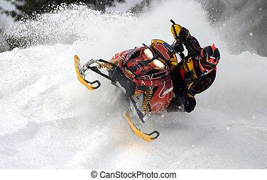 leaning over -  action from kirkland lake snowcross