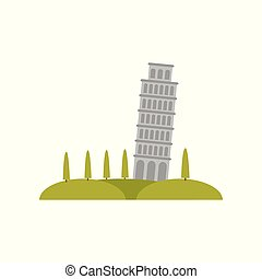 Leaning Pisa tower, green hills and trees. Famous tourist...