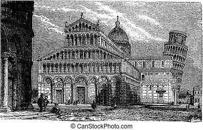 Leaning Tower, cathedral and baptistery of Pisa, vintage...
