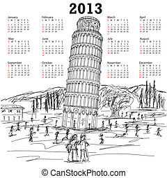 leaning tower of pisa 2013 calendar