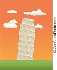 leaning tower of pisa at sundown