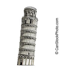 Leaning tower of pisa, colored drawing, realistic. Vector illustration of paints