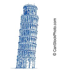 Leaning Tower of Pisa - An hand drawn illustration - Leaning...