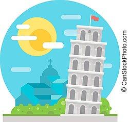 Leaning tower of Pisa flat design landmark illustration...