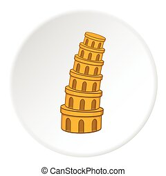 Leaning tower of Pisa icon, cartoon style