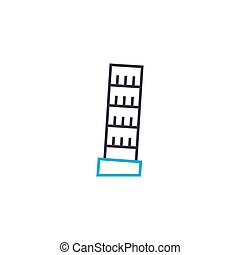 Leaning tower of pisa linear icon concept. Leaning tower of...