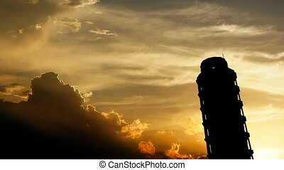 """""""Leaning Tower of Pisa over sunset, 3d animation."""""""