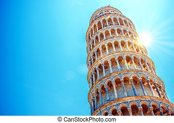 Leaning Tower of Pisa, Italy, Europe. Tower of Pisa Over...