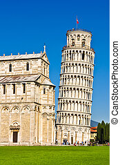 Leaning tower of Pisa, Tuscany, Italy, day view