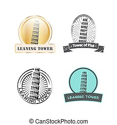 Leaning Tower of Pisa, vintage set logos.