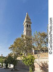 Leaning tower of San Martino church on Burano island, Italy.