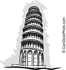 leaning tower Pisa,sketch vector - sketch vector of pisa...