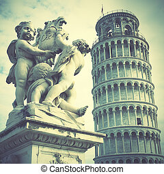 Leaning Tower of Pisa, Italy. Retro style filtred image