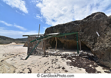 Beautiful remains of a leanto shelter on Andicuri Beach in Aruba.