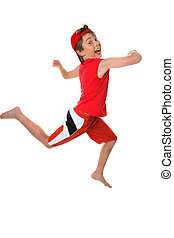 Leap for Joy - Happy healthy boy leaping or running and...