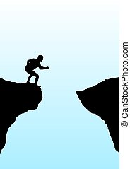 Leap of faith - Illustration of a person getting ready to...