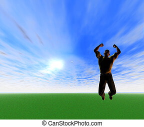 Leap of Joy - Computer Graphics - Man Jumping in Air with...