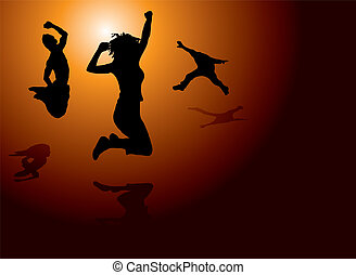 leap of joy - People jumping for joy on a warm sun setting...