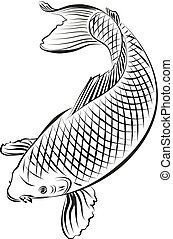 leaping carp, illustration with only one colour