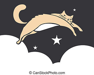Leaping Cat - Cat leaping thought the sky at night with...