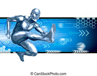 Leaping Forward - Stock image of a chromeman leaping forward