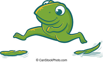 Leaping Frog - Cute toad character hopping on lily pads