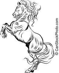 Leaping horse, illustration with only one colour