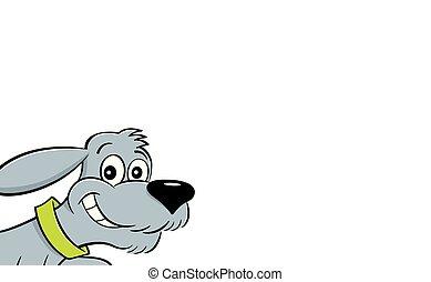 leaping., karikatur, hund