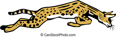 Leaping Serval - vector illustration of a leaping African...