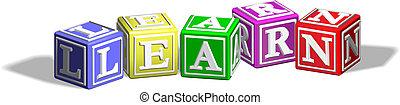 Learn alphabet blocks - Alphabet letter blocks forming the...