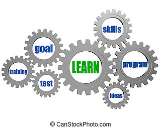 learn and concept words in silver grey gearwheels - learn...