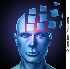 Learn and lead education and leadership concept with a human head being segmented into cubic shapes and spreading outward as a symbol of business training success on a glowing black background.