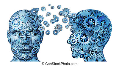 Learn and lead teamwork and Leadership as an education symbol represented by two human heads frontal and side view shaped with gears as a brain idea made of cogs representing working together as a team in partnership.