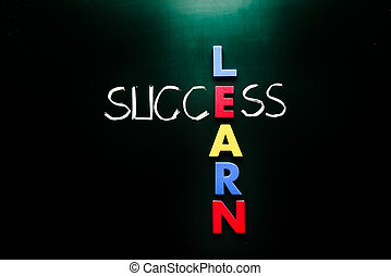 Learn and Success Concept on Chalkboard - Simple Learn and...