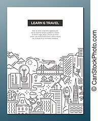 Learn and travel composition - line flat design banner -...