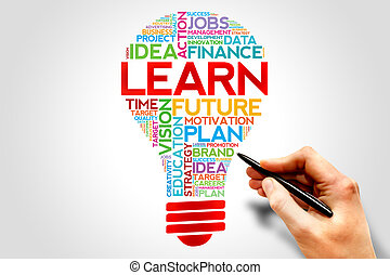 LEARN bulb word cloud, business concept