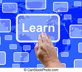 Learn Computer Button On Blue Screen Shows Online Learning And Education
