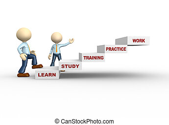 3d people - man, person climb stairs. Practice, study, training, learn, work