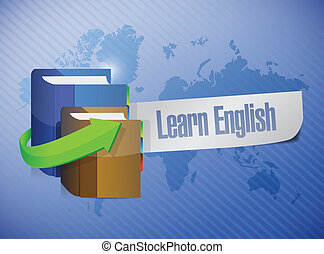 learn english book sign illustration design