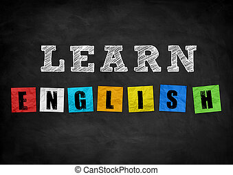 learn english - chalkboard concept