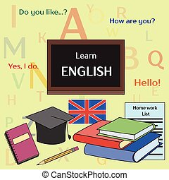 Learn english concept. Books, training, education. Vector...